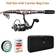 PLUSINNO Fishing Rod and Reel Combos Carbon Fiber Telescopic Fishing Rod with Reel Combo Sea...