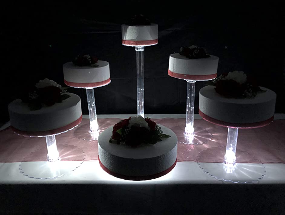 Multi Tier Wedding Cake Stand with LED Lights and Optional Water Fountain (6 Tier Stand, Without Fountain)