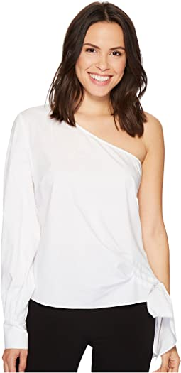 Vince Camuto - Long Sleeve One Shoulder Side Tie Cotton Poplin Shirt