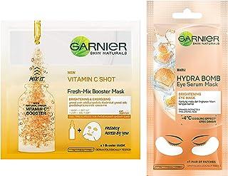 Garnier Skin Naturals, Fresh Mix Vitamin C, Face Serum Sheet Mask Orange, 33 g & Garnier Hydra Bomb Eye Serum Mask, Orang...