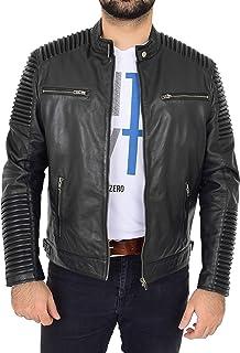 Mens Soft Leather Biker Jacket Casual Zip Fastening Style Nelson Black