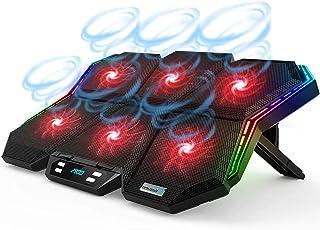 ノートパソコン冷却パッド 冷却台 ノートPC クーラー 12種RGB変換ライトモード LED搭載 6つ冷却ファン 3段階風量調節可 静音 安定 7段階高度調節可 2つUSBポート付 9-17インチ PS4/iPad等に対応 【2021最新進化型】