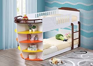 Acme Furniture AC-37715 Twin Bunk Bed w/Storage Shelves, Twin Over Twin, White/Chocolate