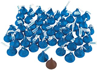 Fun Express - Blue Bulk Hershey Kisses (4lb) - Edibles - Chocolate - Branded Chocolate - 400 Pieces