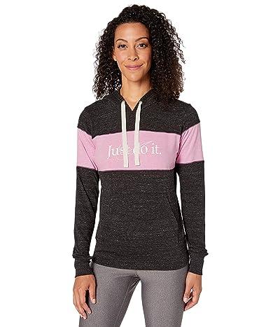 Nike NSW Gym Vintage Hoodie Stripe (Black/Heather/Pink Rise/Sail) Women
