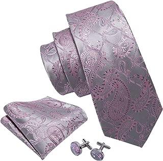 Barry.Wang Tie Pocket Square Cufflinks Mens Necktie Set Woven Paisley Designer