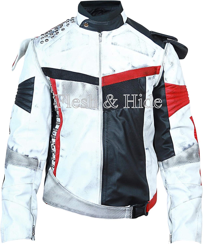 Flesh & Hide F&H Men's New Distressed Carlos Cameron Boyce Genuine Leather Jacket