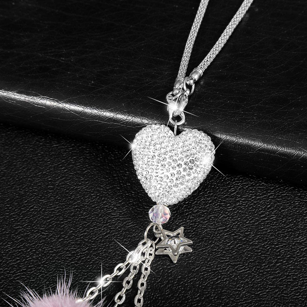 Alotex Bling Car Accessories for Women&Men Bling White Heart and Purple Fuzzy Drops Bling Rinestones Diamond Car Accessories Crystal Car Rear View Mirror Charms,Lucky Hanging Accessories Purple