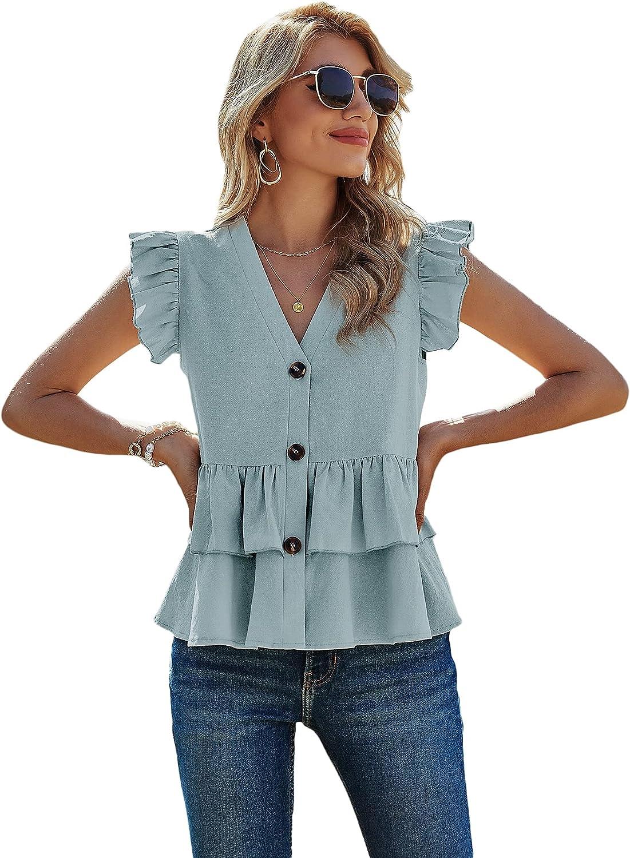 Milumia Women's V Neck Button Down Shirts Casual Ruffle Cap Short Sleeve Tops Blouse