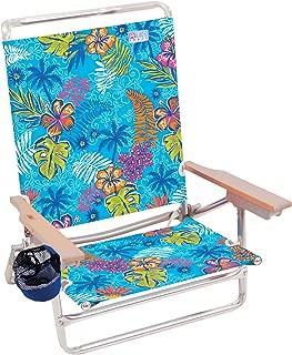 Rio Beach Classic 5 Position Lay Flat Folding Beach Chair - Totally Tropical Rainforest (Renewed)