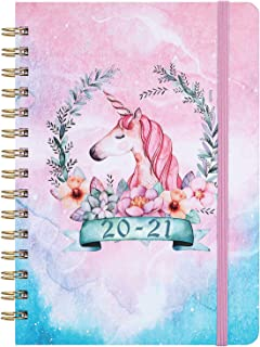 """2020-2021 Planner - Weekly & Monthly Planner with Prelabeled Monthly Tabs, Jul. 2020-Jun. 2021, 6.3"""" x 8.4"""", Twin-Wire Binding with Flexible Hardcover Cover, Inner Pocket, Pink with Dream Pony"""