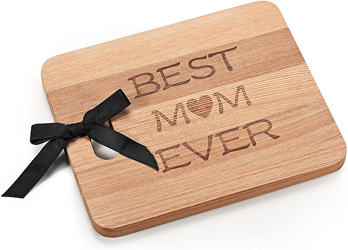 Monogram Personalized Engraved BEST MOM EVER Cheese Cutting Board Personalized Gifts Couples Cutting Board Wood Cutting Boards Bridal Shower Housewarming And Wedding Gifts