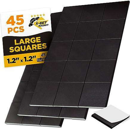 大磁方块 - 45 个自粘磁性方形(每个 3.05 厘米 x 3.05 厘米) - 即剥即贴磁性纸 - 弹性粘贴 - 胶带是磁性贴纸、条带和卷的一种替代品