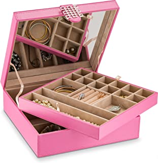 Glenor Co Jewelry Box Organizer for girls - 28 Section - Modern Buckle Closure, Large Mirror & 2 Trays for Women & Teens - Holder for Earring Ring Necklace Bracelet & Watch - Leather Design - Pink