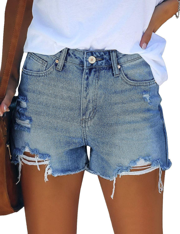 Uqnaivs Women's Casual High Rise Denim Hot Short Distressed Jean Shorts