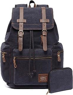 KAUKKO Canvas Vintage Backpack Casual Daypack School Leather Rucksack Laptop Bag (Black-01)