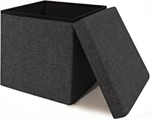 "Seville Classics 15.7"" Foldable Storage Ottoman Footrest Toy Box Coffee Table Stool, 2-Pack, Charcoal Gray"