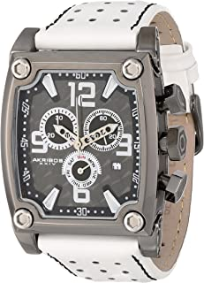 Akribos XXIV Men's AK415WT Conqueror Stainless Steel Watch with White Leather Band