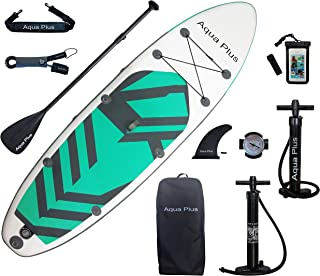 Aqua Plus 11ftx33inx6in Inflatable SUP for All Skill Levels Stand Up Paddle Board, Adjustable Paddle,Double Action Pump,IS...