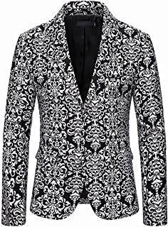 Men's Floral Tuxedos Jacket Slim Fit Two Buttons Prom Party Blazer Peak Lapel Performence Jacket Casual Coat