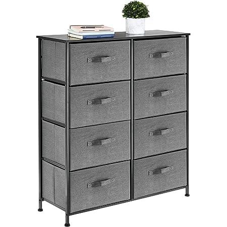 mDesign commode à 8 tiroirs – meuble à tiroirs en panneau de bois MDF pour la chambre à coucher, le salon ou le couloir – rangement vêtements en métal et tissu – gris foncé