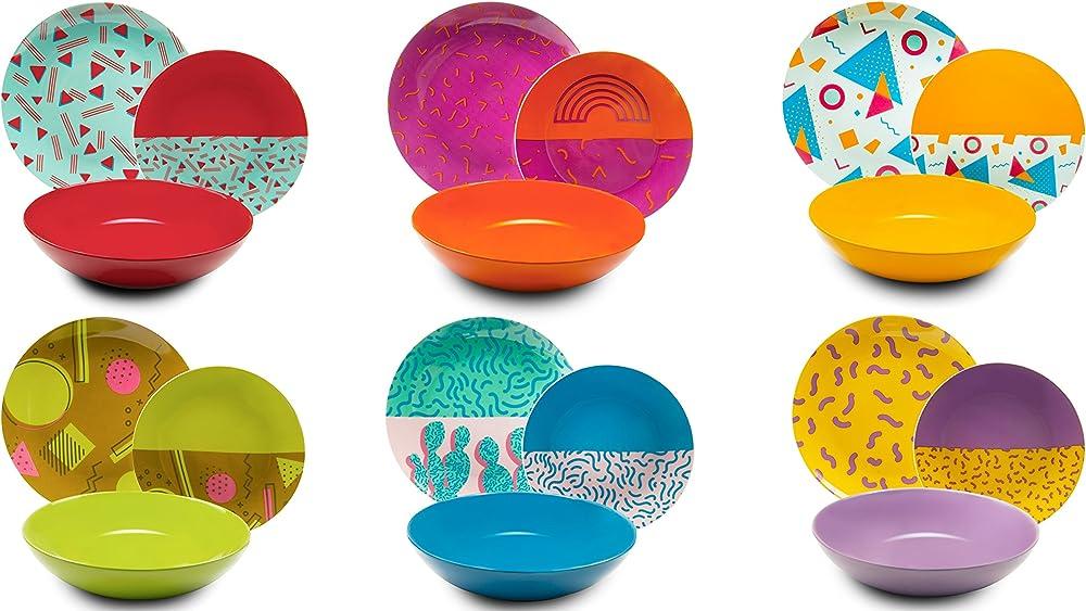 Excelsa radical, servizio di piatti da 18 pezzi, in porcellana e ceramica multicolore 62488