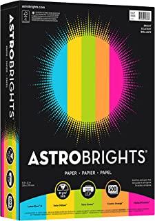 Astrobrights Color Paper, 8.5� x 11�, 24 lb/89 gsm, �Brights� 5-Color Assortment, 500 Sheets (99608)