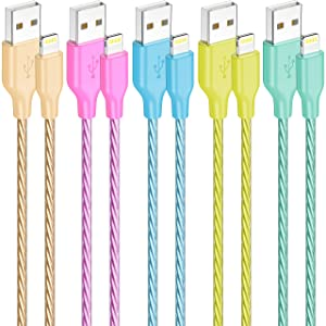 iPhone Lightning Cable, IDISON 5Colors [5-Pack 4FT], Premium Fast USB Charging Cord, Apple MFi Certified for iPhone Charger, iPhone SE/Xs/XS Max/XR/X/8 Plus/7/6 Plus,iPad Pro Air2,and More (G/R/B/Y/G)