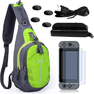 eLUUGIE 5 in 1 Travel Kit Game Bag Crossbody Bag Travel Case + Switch Charging Stand Dock+Switch Charging Cable+Screen Protector+ Joy-con Controller Thumb Grips For Nintendo Switch Game Console