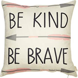"""Fjfz Cotton Linen Home Decorative Quote Words Throw Pillow Case Cushion Cover for Sofa Couch Tribal Girl Nursery Art Decor, Be Kind Be Brave Decoration, 3 Arrows Pink and Grey, 18"""" x 18"""""""