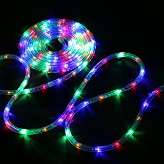 LE LED Rope Lights, 33 ft 240 LED, Low Voltage, Multi Colored, Waterproof, Connectable Clear Tube Indoor Outdoor Light Rope and String for Deck, Patio, Pool, Bedroom, Boat, Landscape Lighting and More