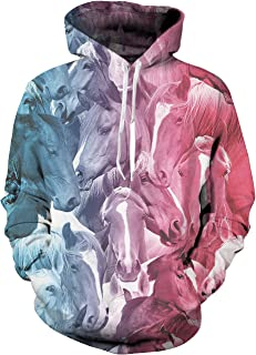 Unisex 3D Printed Pullover Long Sleeve Fleece Hooded Sweatshirts with Pockets