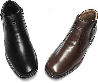 Shoetherapy Wide Fit 26809 Bottes en cuir souple pour homme Uni Double fermeture Éclair avec semelles amovibles Noir et ma...