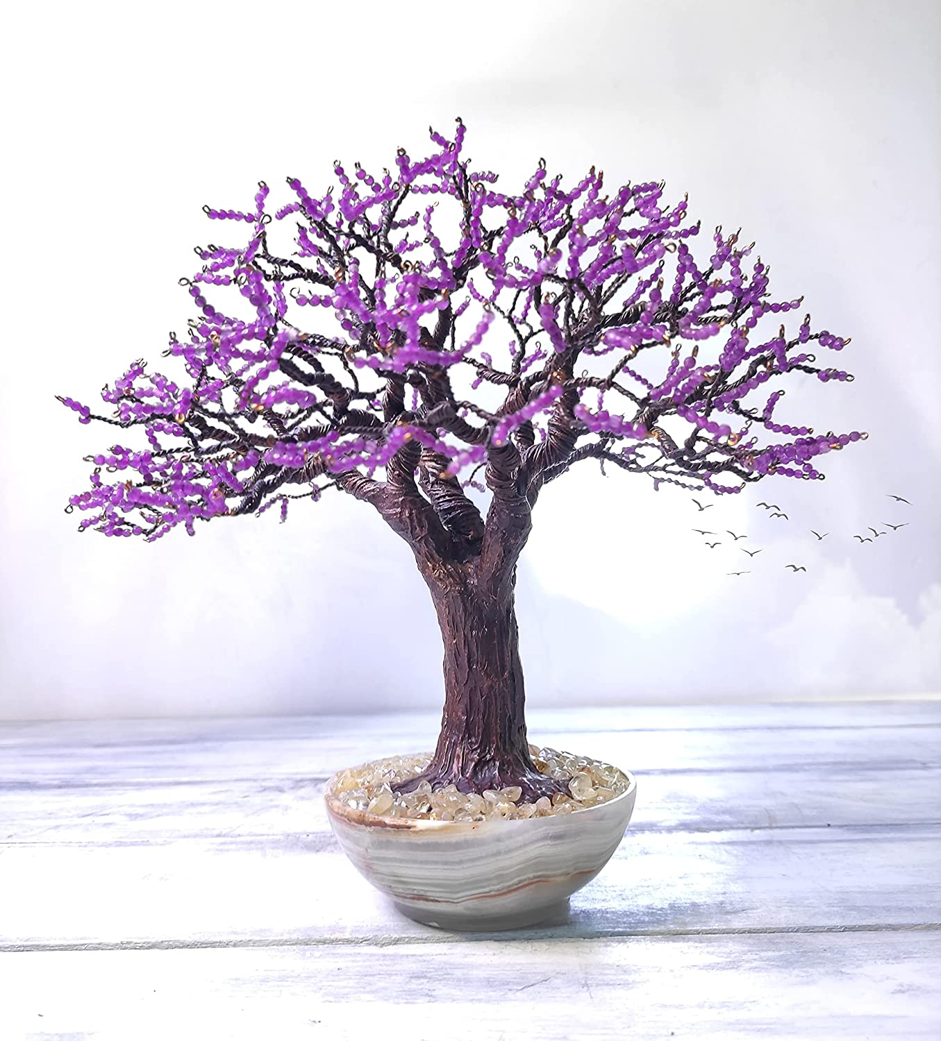 Beaded wire tree gemstone bonsai purple List price bea Free shipping anywhere in the nation with agates faceted
