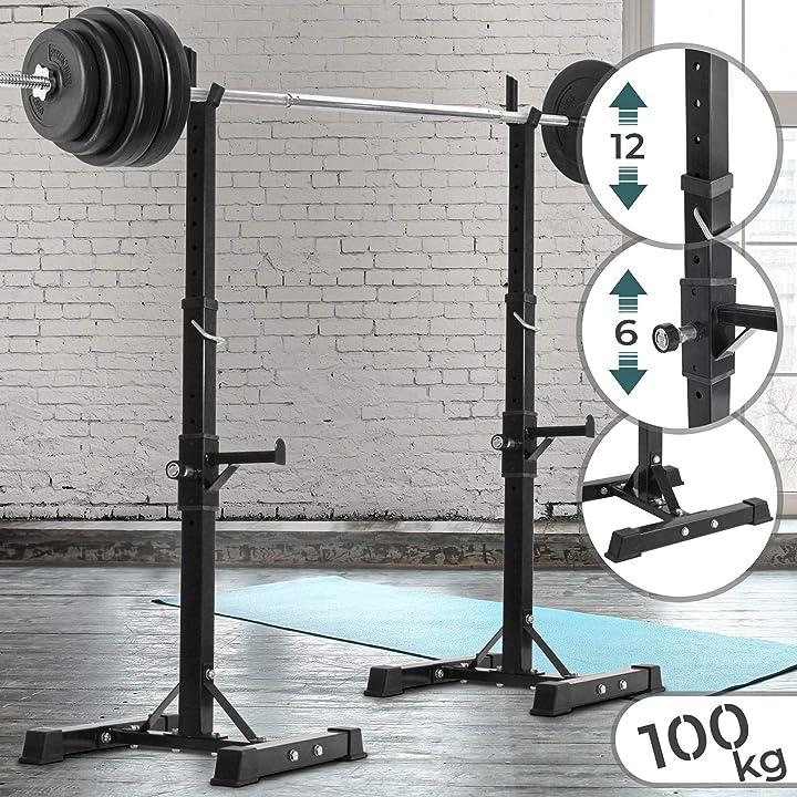 Supporto per bilanciere squat-regolabile in altezza su 12 livelli, carico massimo 100 kg, in acciaio physionic B008HEBO56