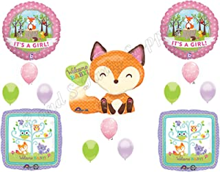 It's A Girl Woodland Friends Baby Shower Balloons Decoration Supplies Fox Chevron by Anagram