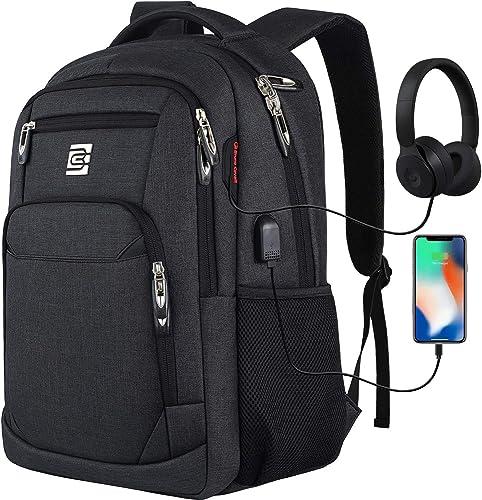 marcello Sac à Dos Ordinateur 15.6 Pouces avec USB Charging Port, Résistant à l'eau Sac a Dos PC Portable et Sac à Do...