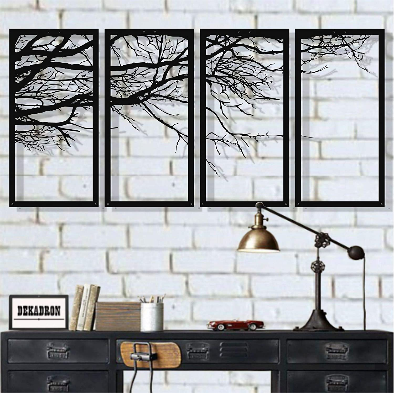Metal Wall Art, Tree of Life 4 Pieces, Metal Tree Wall Art, Tree Sign, Metal Wall Decor, Interior Decoration, Housewarming Gift, 4 Panels Wall Hangings (79