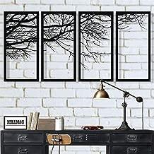 DEKADRON Metal Wall Art, Tree of Life 4 Pieces, Metal Tree Wall Art, Tree Sign, Metal Wall Decor, Interior Decoration, Housewarming Gift, 4 Panels Wall Hangings (79