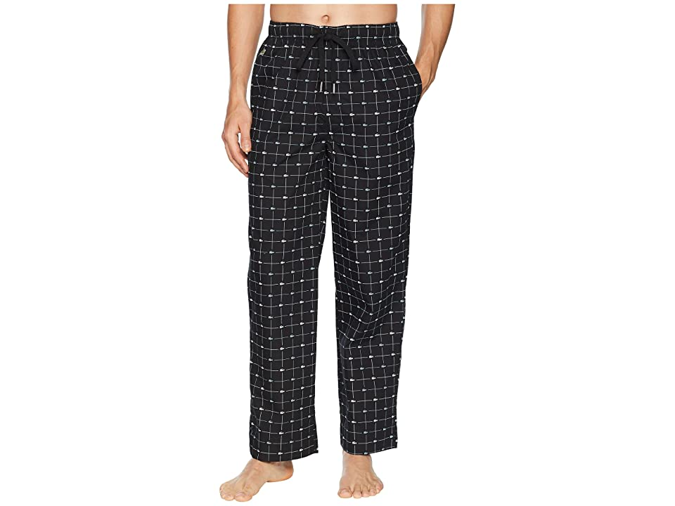 Lacoste Baseline Woven Lounge Signature Print Sleep Pants (Black) Men