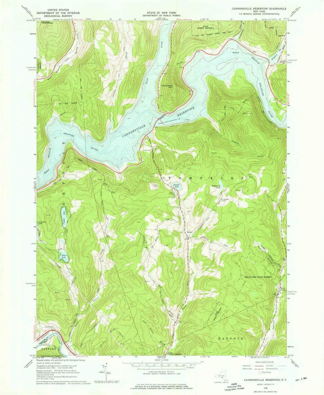YellowMaps Cannonsville Reservoir NY 4 years warranty topo 7. Scale 1:24000 map Philadelphia Mall
