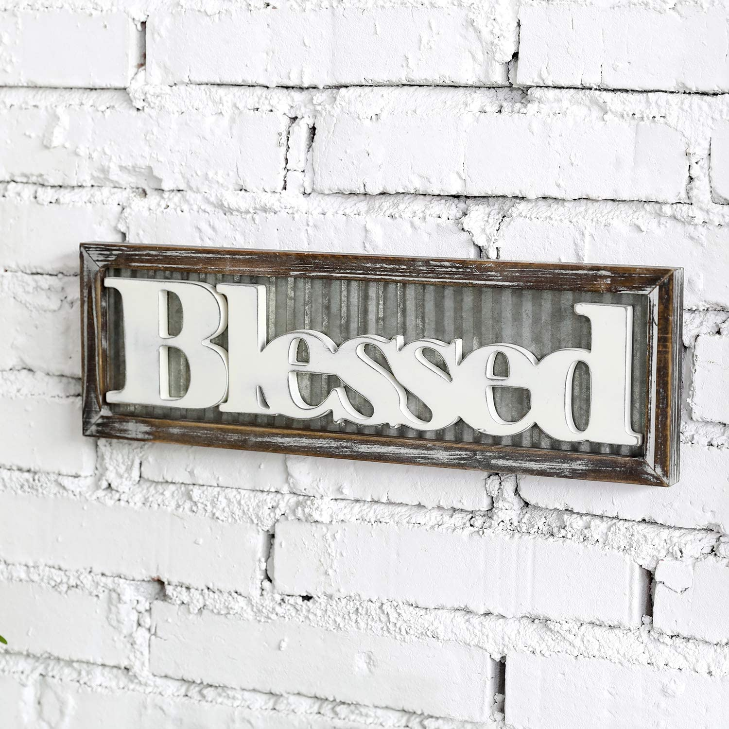 MyGift Blessed Vintage White Wood Wall Art Hanging Sign Decoration with Rustic Corrugated Galvanized Metal & Torched Wooden Frame