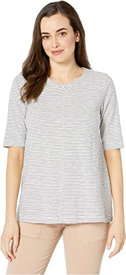 Elbow Sleeve Swingy Tee in Slub Stripe