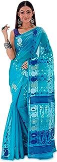 SareesofBengal Women's CottonSilk Handloom Jamdani Dhakai Saree Blue
