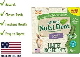 Nutri Dent Limited Ingredient Dental Dog Chews | Large Size | Filet Mignon or Fresh Breath Flavors