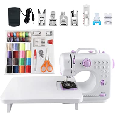 Sewing Machine with 12 Built-in Stitches, Automatic Needle Threader Portable Household Sewing Kit, Two-Thread Lockstitch with High & Low Adjustable Speeds, Sewing Masks, Clothes, FHSM-505