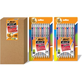 BIC Xtra Sparkle Mechanical Pencil, Colorful Barrel, Medium Point (0.7 mm), 48-Count, Refillable Design for Long-Lasting Use