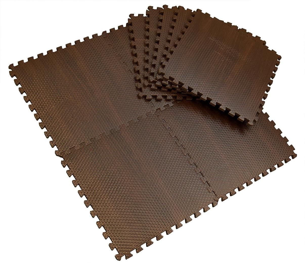 匹敵します上へ見込みジョイント木目調マット 厚み約10mm 9枚入セット 床暖房対応 ノンホルムアルデヒド ブラウン 140398