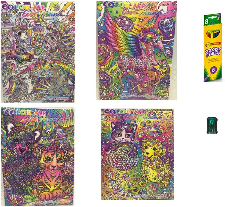 4  Lisa Frank Adult color Me coloring Books coloring Pencils Sharpener Bundle of 6 Items