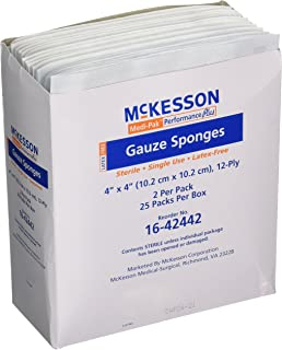 Mckesson Performance plus Gauze Sponge Cover Dressing Sterile, 4 X 4 Inches, Box of 50(packaging may vary)
